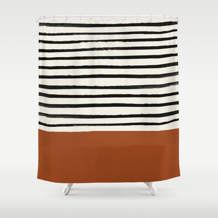 Burnt Orange x Stripes Duschvorhang