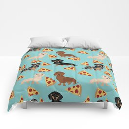 dachshund pizza multi coat doxie dog breed cute pattern gifts Comforters