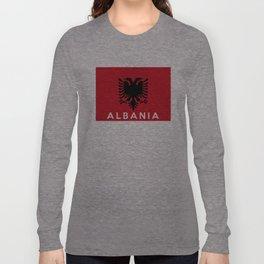 albania country flag name text Long Sleeve T-shirt