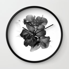 Black Geranium in White Wall Clock