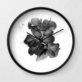 Black Geranium in White Wall Clock