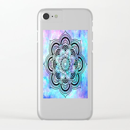 mandala pink lavender aqua galaxy space Clear iPhone Case