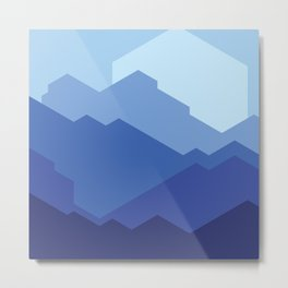 Geometric Blue Sunset Metal Print