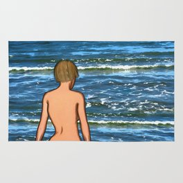 Girl in the Sea Painting Rug