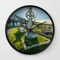 celtic Wall Clocks featuring Celtic Cross by Adrian Evans