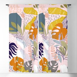 Tropical Retro Boho Foliage Pattern - Pink Blackout Curtain