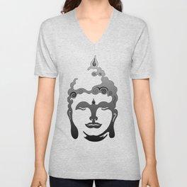 Buddha Head grey black white background Unisex V-Neck