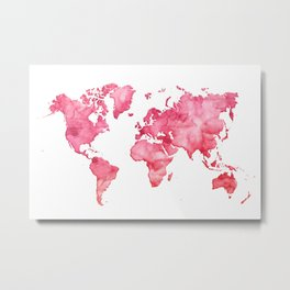 Raspberry watercolor world map Metal Print