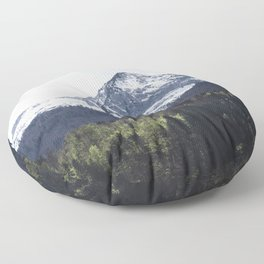 Winter and Spring - green trees and snowy mountains Floor Pillow