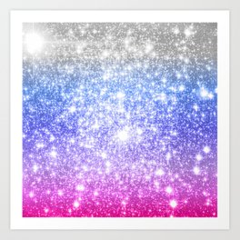 Galaxy Sparkle Stars Periwinkle Pink Art Print