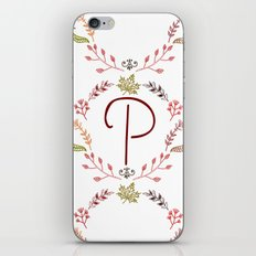 Floral P letter iPhone & iPod Skin
