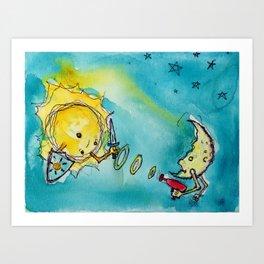 Sun Versus Moon Art Print