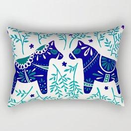 Swedish Dala Horses – Navy & Blue Palette Rectangular Pillow