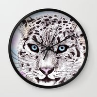 snow leopard Wall Clocks featuring Snow Leopard by KimCarter