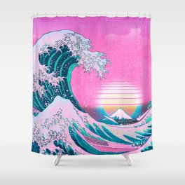 Vaporwave Aesthetic Great Wave Off Kanagawa Sunset Shower Curtain