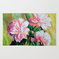 peonies Area & Throw Rugs featuring Peonies by OLHADARCHUK