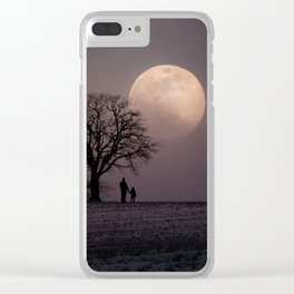 Father and Child Under a Winter Moon Clear iPhone Case