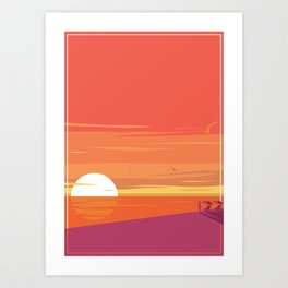 Surfing Sunset in Retro Style Art Print