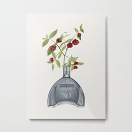 Strawberry bush in a vintage cognac bottle vase Metal Print