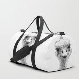 Black and White Ostrich Illustration Duffle Bag