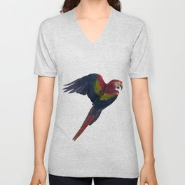 Light and Shadow Scarlet Macaw Unisex V-Neck