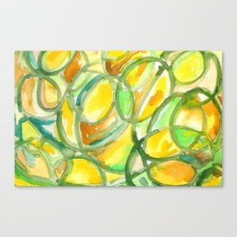 Yellow And Green Number Four Canvas Print