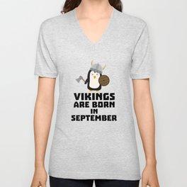 Vikings are born in September T-Shirt Dzu23 Unisex V-Neck