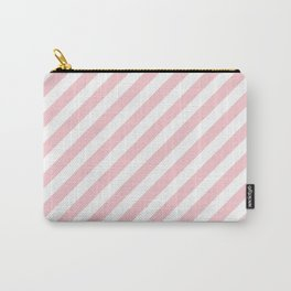 Light Millennial Pink Pastel and White Candy Cane Stripes Carry-All Pouch