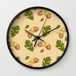 acorn and oak leaf pattern Wall Clock