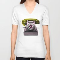 marylin monroe V-neck T-shirts featuring Call Marylin by KEFLIONE