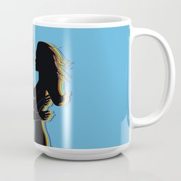 The love silhouettes of man and woman in black color, blue background Coffee Mug