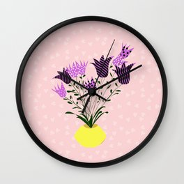bluebells in a yellow vase Wall Clock