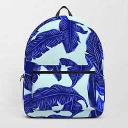 Banana leaves tropical leaves blue white #homedecor Backpack