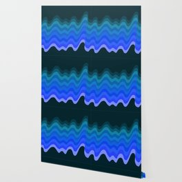 Blue Wave Retro Ripple Wallpaper
