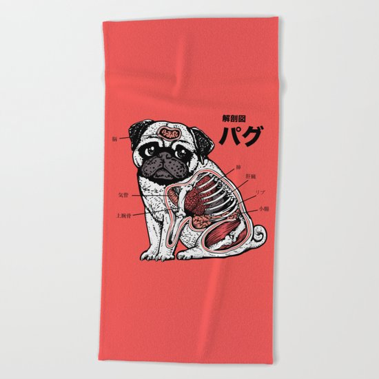 Pug Anatomy Beach Towel
