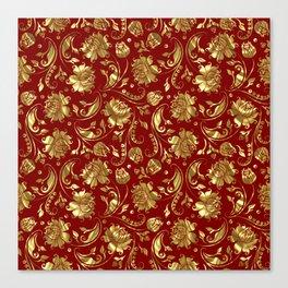 Dark Red & Gold Floral Damasks Pattern Canvas Print