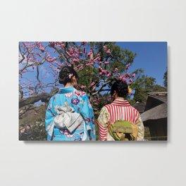 Kimono Girls in Nature Metal Print