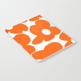 Orange Retro Flowers White Background #decor #society6 #buyart Notebook