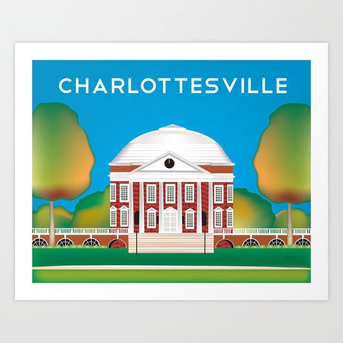 Charlottesville, Virginia - Skyline Illustration by Loose Petals Kunstdrucke