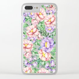 Hand painted lavender coral green watercolor floral Clear iPhone Case
