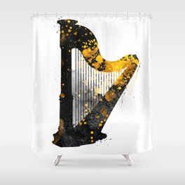 Harp music art gold and black #harp #music Shower Curtain