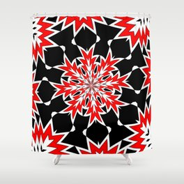 Bizarre Red Black and White Pattern 2 Shower Curtain