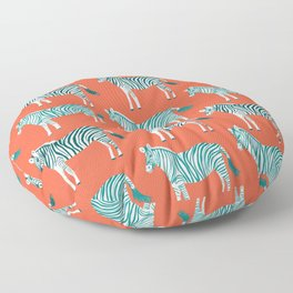 Zebra Parade Pattern Flame Teal Floor Pillow