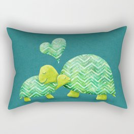 Sweet Turtle Hugs with Heart in Teal and Lime Green Rectangular Pillow