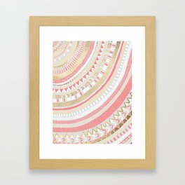Coral + Gold Tribal Framed Art Print