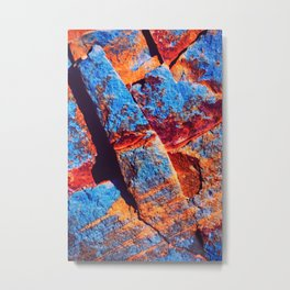 Abstract, black red, blue, surface building painting Metal Print