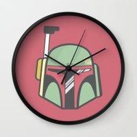 boba fett Wall Clocks featuring Boba Fett by CaseyIllustrates