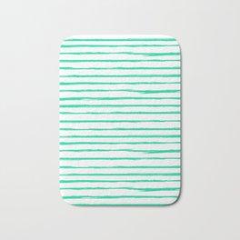 Broken Lines Pattern Bright Mint Bath Mat