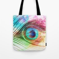peacock feather Tote Bags featuring Peacock Feather by Klara Acel