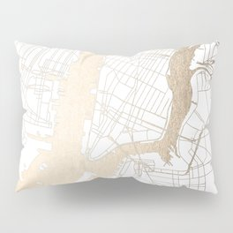 New York City White on Gold Pillow Sham
